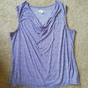Lavender and White Geometric Print Cowl Neck Shell